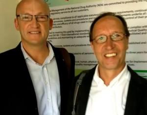 Klaas Proesmans (l) and Leo Koehof (r). Visiting the National Drug Administration in Uganda?