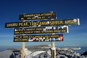 Uhuru Peak, summit of Mt. Kilimanjaro (Wikimedia Commons)