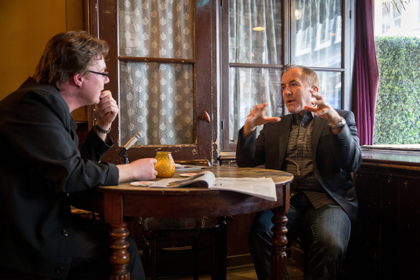 Me interviewing Michael Shermer (photo: Bas Uterwijk)