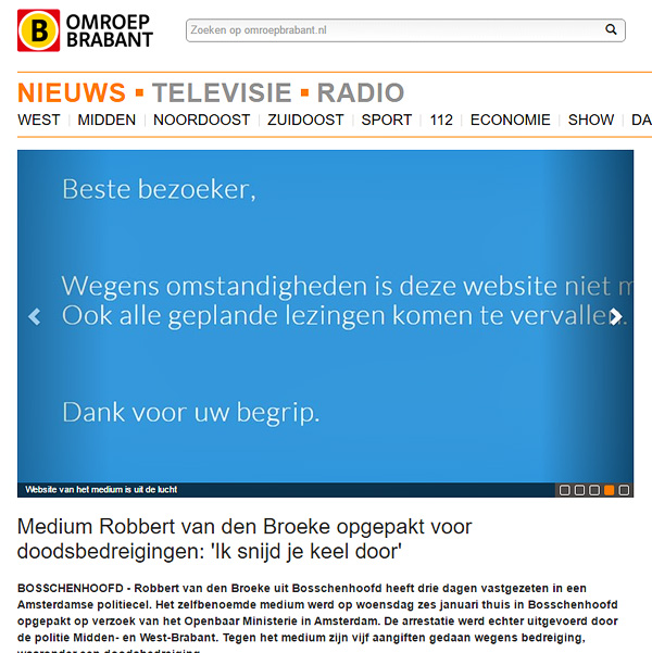 Article on the website of Omroep Brabant, showing a screenshot of website of Van den Broeke just showing a text that all his sessions and lectures have been cancelled due to personal circumstances.
