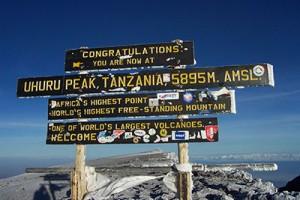 Uhuru Peak, summit of Mt. Kilimanjaro (Wikimedia Commons)